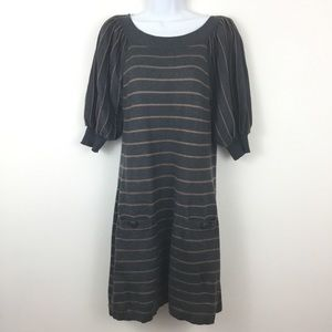 NEW DIRECTIONS GRAY STRIPED SWEATER DRESS